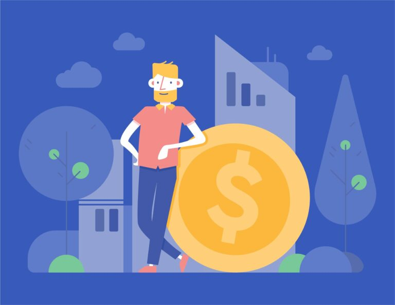 An illustration of web development for fintech featuring a man and a coin