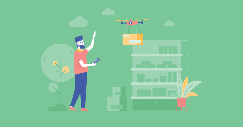 A man experiences outsourcing retail digital transformation in the form of drone delivery