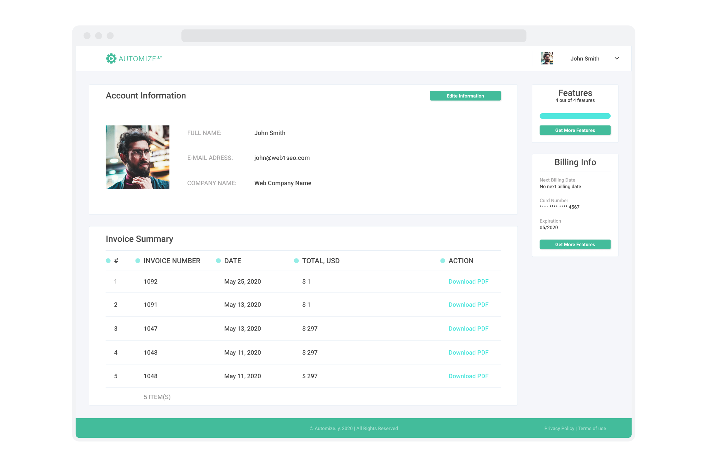 Billing page for Automizely, a marketing automation platform for e-commerce businesses