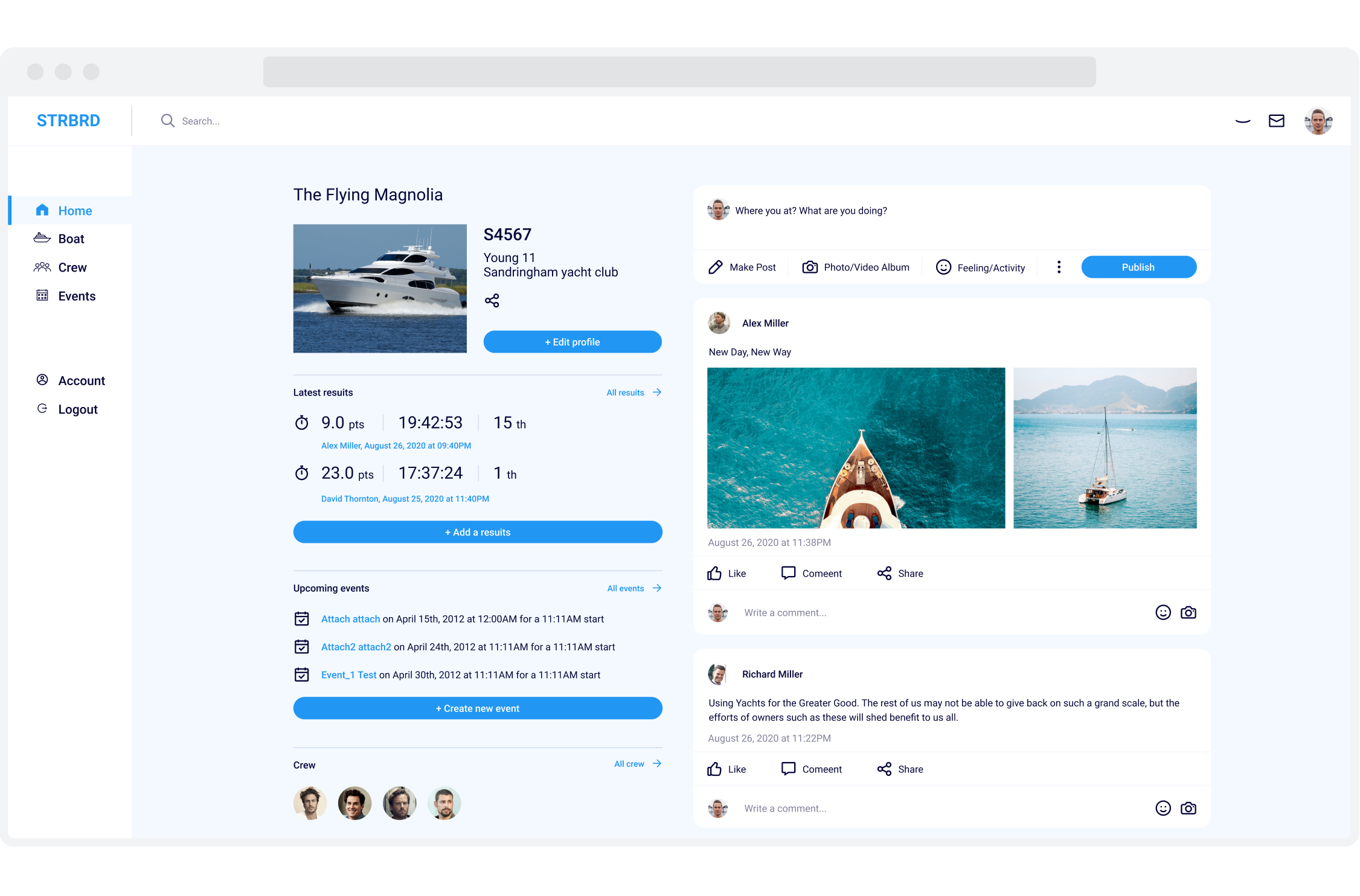 Home page for STRBRD, a yacht and crew management Web Application