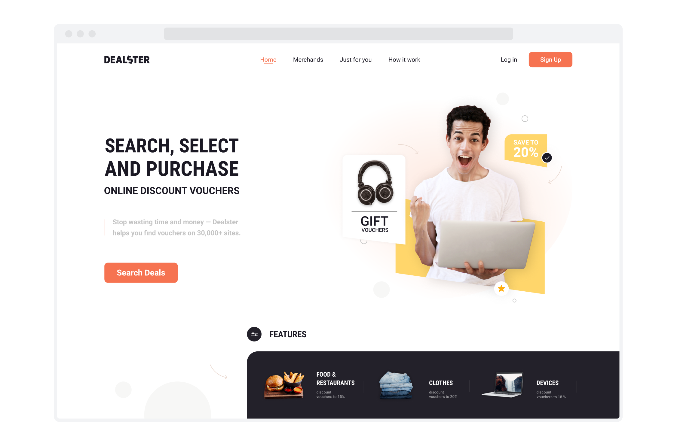 Landing page for Dealster, a voucher aggregator
