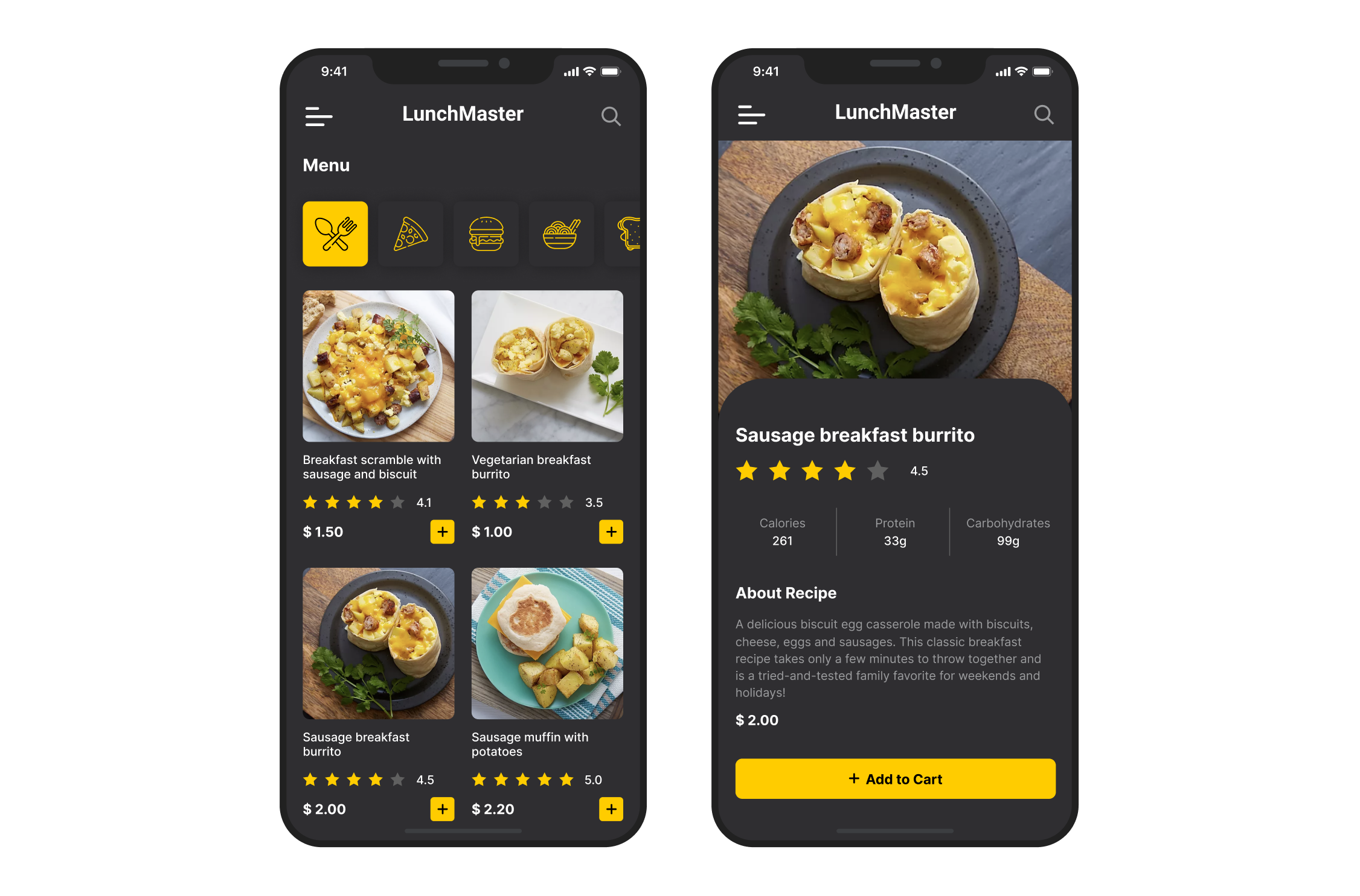 LunchMaster Mobile App Dark Mode