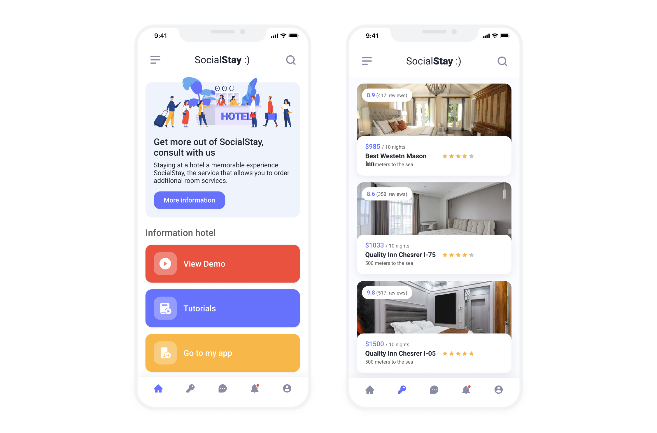 Mobile App for SocialStay, a web solution providing hotel guests with interactive services