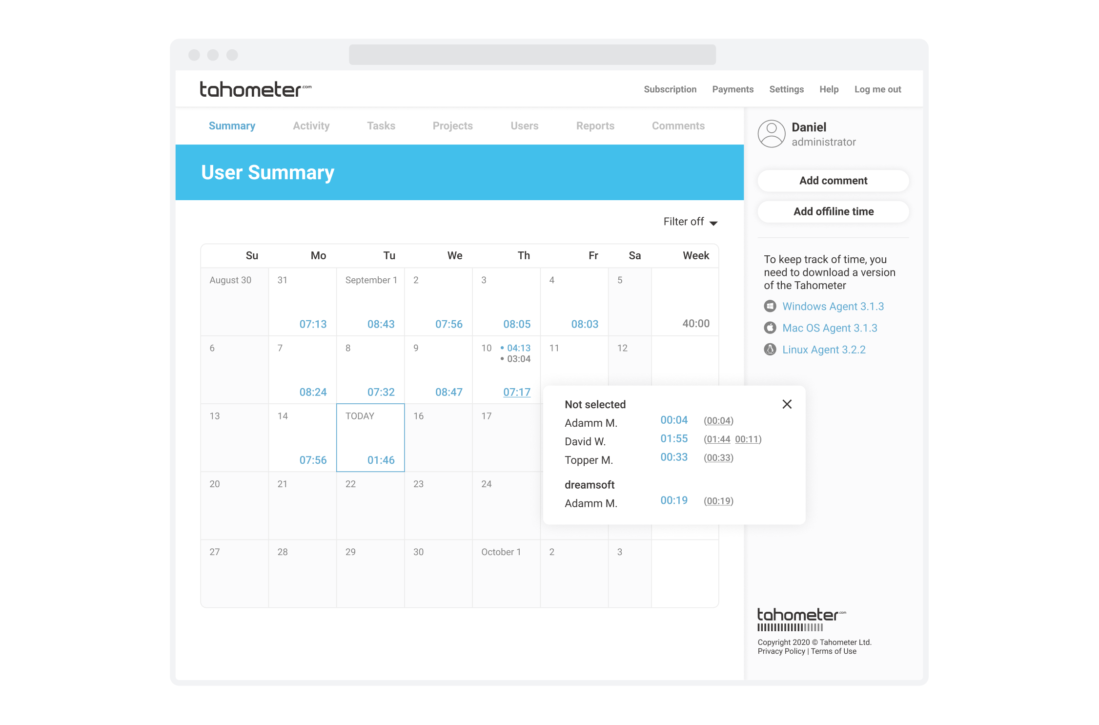 Tahometer Time Tracking Service Activity Dashboard