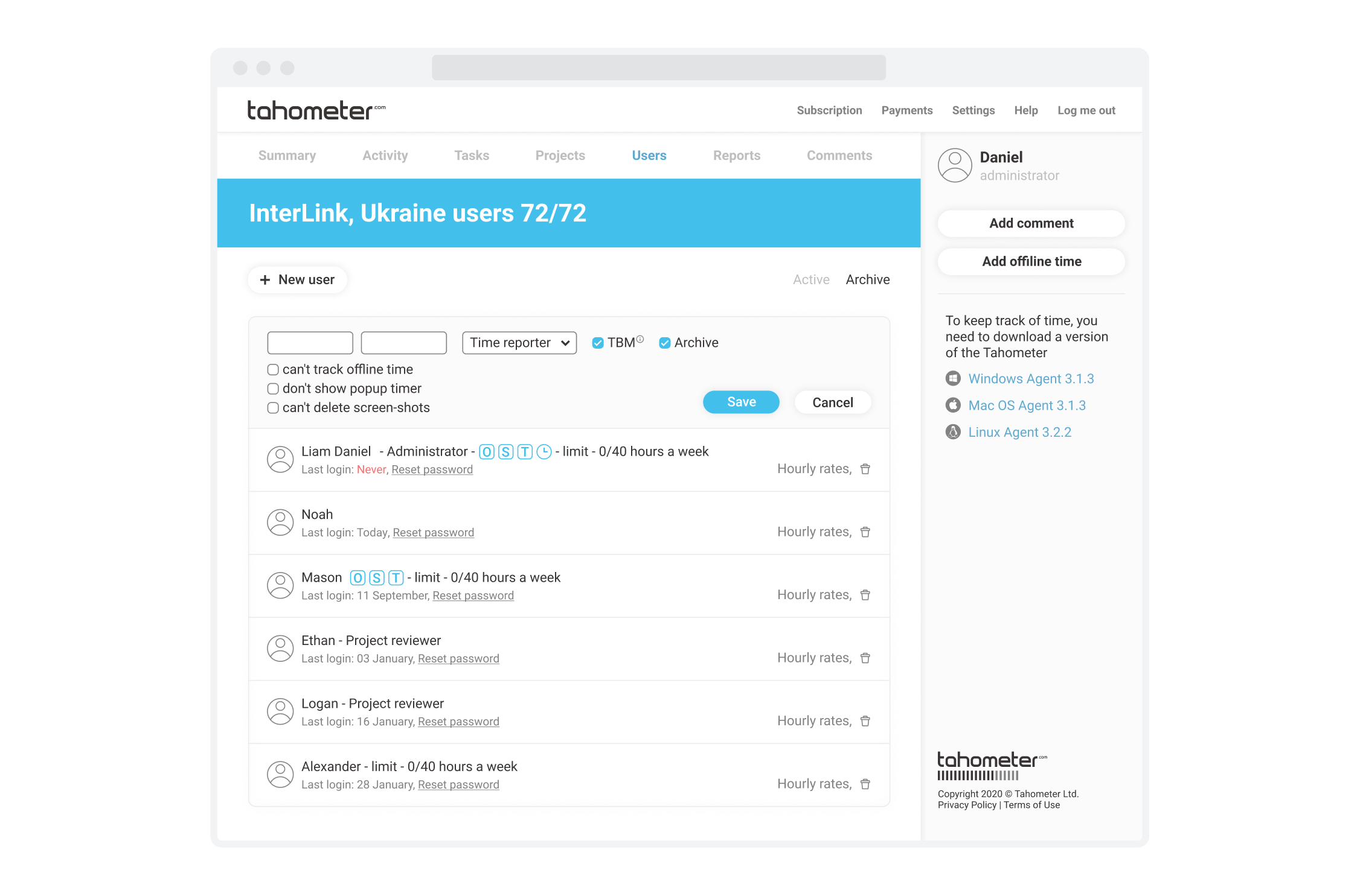 Tahometer Time Tracking Service User Activities