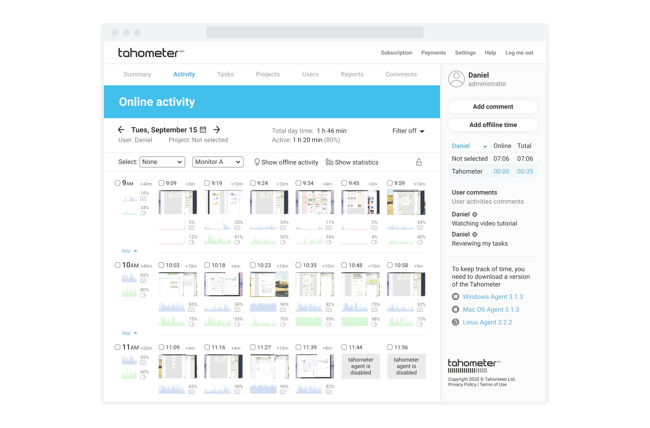 Tahometer Time Tracking Service User Screenshots