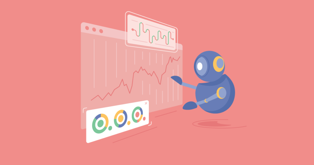 A robot performs algorithmic trading